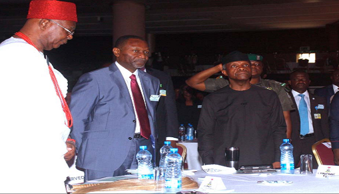 Vice President Yemi Osinbajo, Minister of Budget and National Planning, Udoma Udoma, Obi of Onitsha, Dr. Alfred Achebe at the Financial Times Summit