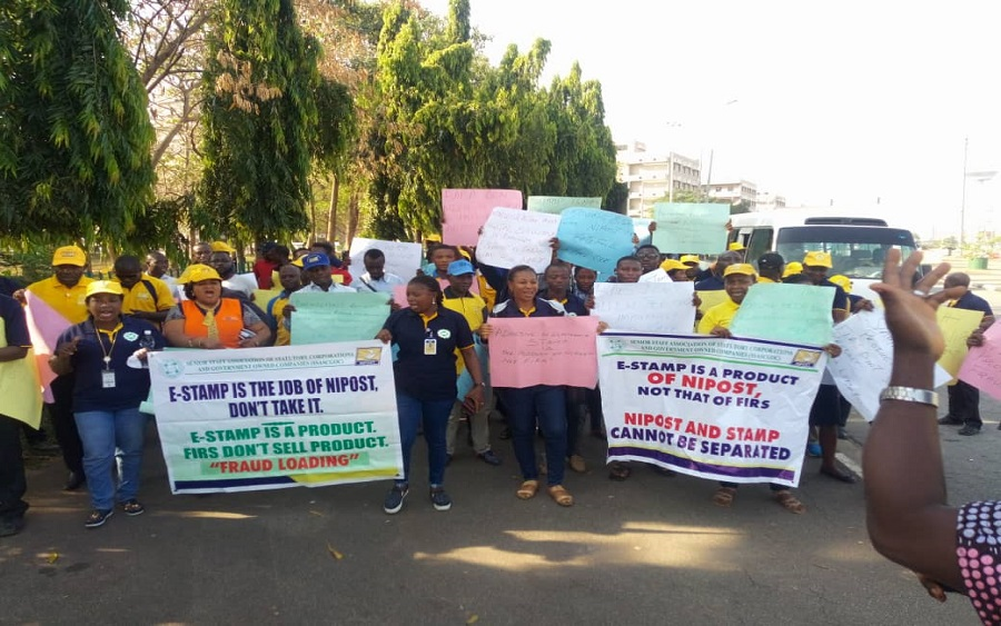 NIPOST workers shut down Ministry of Finance over stamp duty collection