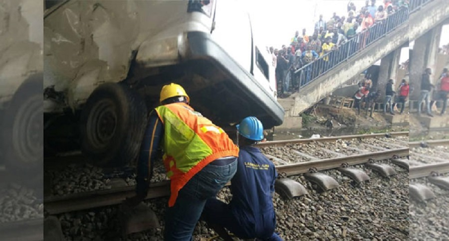 One killed, as vehicles collide with moving train in Lagos